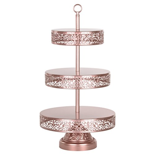 Amalfi Decor 3 Tier Dessert Cupcake Stand, Tower Display for Weddings Events Parties Decor Pedestal, Reversible Plates, Victoria Collection (Rose Gold) ()