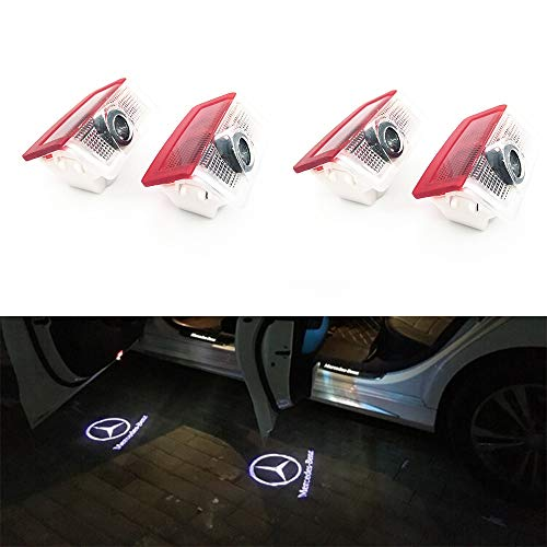 BAILONGJU 4pcs LED Car door courtesy lights laser projector Logo Ghost Shadow Light compatible with Mercedes Benz (Mercedes Logo Light Door)
