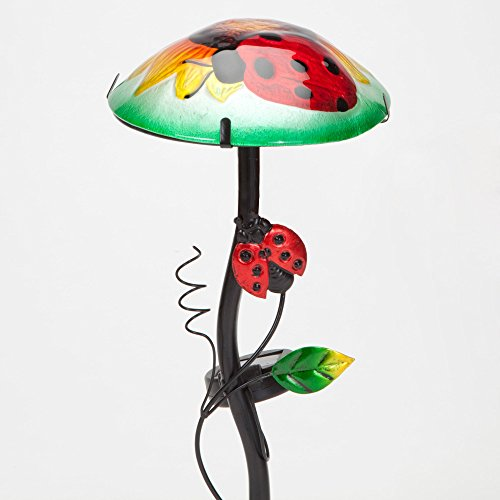 "Bits and Pieces - Solar Powered 12"" Sunflower and Ladybug Garden Stake - Multi-Colored Lightup Glass Garden Statue - Beautiful Outdoor Sculpture by Bits and Pieces"