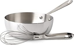 All-Clad Tri-Ply Stainless Steel Saucier with Whisk, 2 Quart