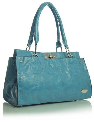 lo donna Handbag spalla Big Blu Shop in ecopelle turchese borsa qtEvvAnW