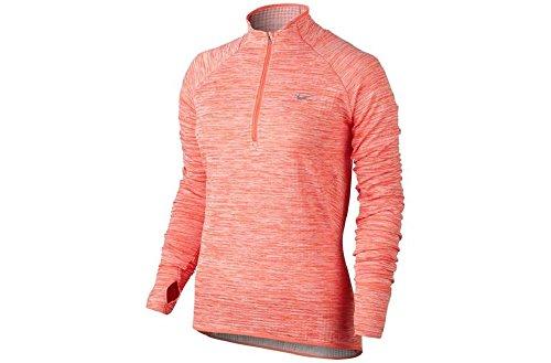 Nike Women's Dri-FIT Knit Half-Zip Top Mango/Heather 659486-696 (X-Small) by NIKE