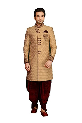 PinkCityCreations Indian Designer Partywear Ethnic Traditional Golden Mens Wear Indo Western. by PinkCityCreations