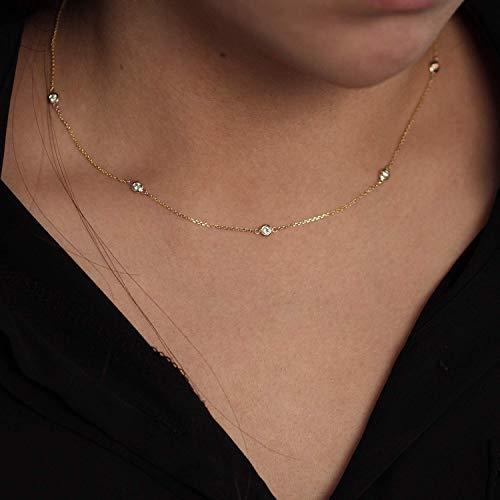 (Diamond By The Yard Necklace / 5 Bezel Diamond Station Necklace/Natural Diamond Bezel Necklace/Diamond Wedding Necklace)