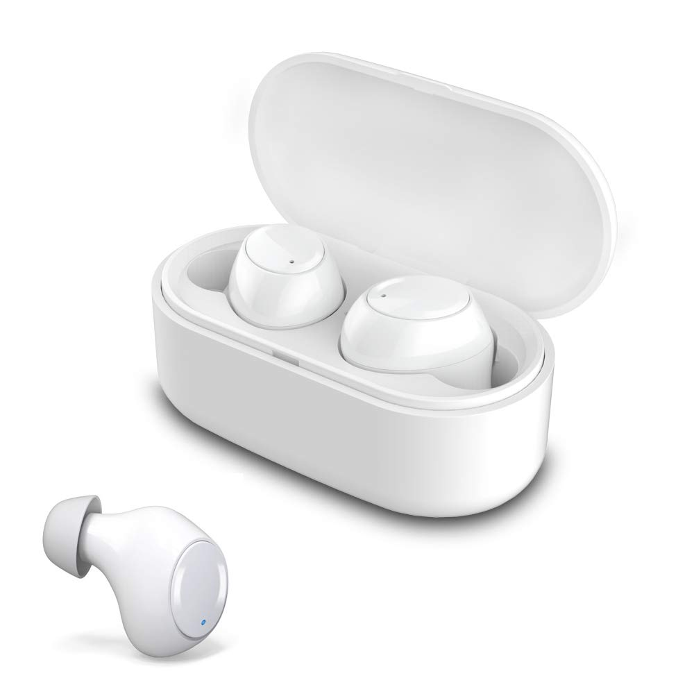 Wireless Earbuds, Portable Sport Bluetooth 5.0 True Wireless Earphones Hands Free Mini Noise Cancelling in-Ear Headphones with Mic and Charging Case White