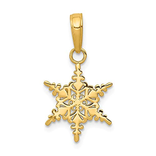 14k Yellow Gold Small Snowflake Pendant Charm Necklace Winter Fine Jewelry Gifts For Women For Her ()