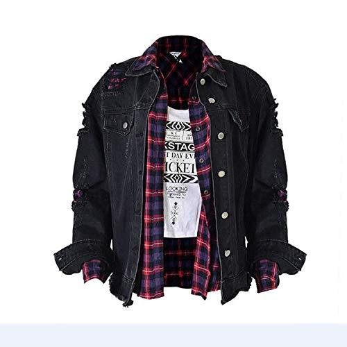 Lunga Donna Cavo Jacket Manica Breasted Sciolto Cute Primaverile Elegante Autunno Grunge Casual Moda Single Giacche Nero Giacca Jeans Chic 0v0Pr