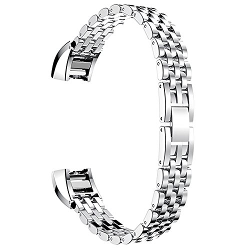 T.Face Fitbit Alta HR Replacment Band Stainless Steel Watch Band Strap Metal Bracelets for Fitbit Alta Bandje Wrist Band (Silver)