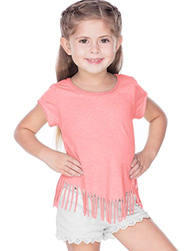 Kavio! Girls 3-6X Sheer Jersey Raw Edge V Fringe Short Sleeve Flamingo 4