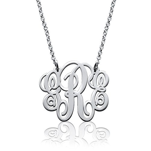 925 Sterling Silver Personalized Monogram Necklace - Custom Made Pendant