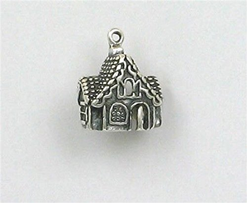 Sterling Silver Gingerbread House Charm Jewelry Making Supply, Pendant, Charms, Bracelet, DIY Crafting by Wholesale Charms ()
