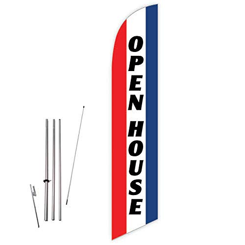 Cobb Promo Open House (Red/Blue) Feather Flag with Complete 15ft Pole kit and Ground Spike