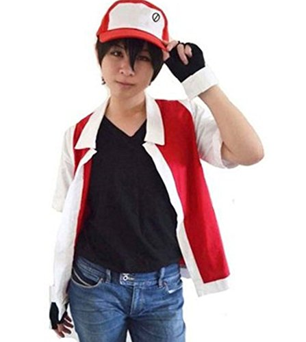 Pokemon Red Costumes (HAIK Pokemon Cosplay Costume Hoodie Cosplay Jacket Gloves Hat Sets for Trainer (X-L,)
