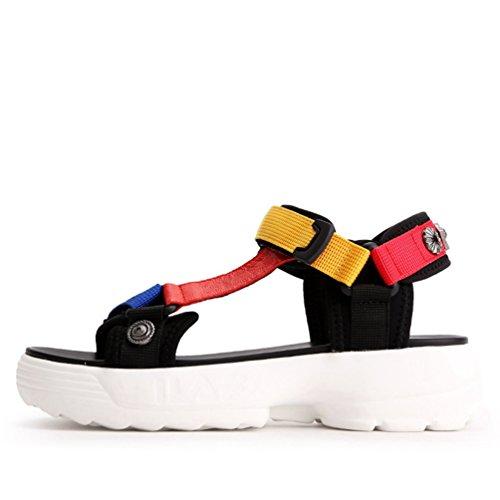 Cuñas Toe Verano de Sandalia Zapatillas Confort Mujer Amarillo Deslizamiento Peep en Tacón Plataforma Sandalias Agua de 4r0q4wH