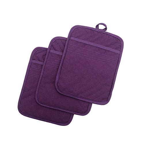 """Anyi Pot Holders and Oven Mitts 7"""" X 9"""" Heat Resistant Cotton Pocket Pot Holder Set Feature of Non Slip Kitchen Hot Pad Oven Mitts, 3-Pack, Purple"""