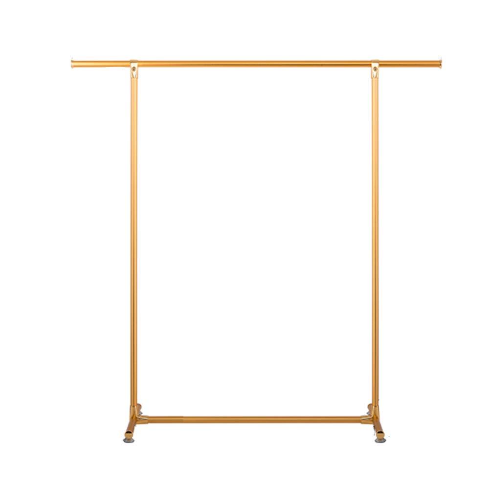 Yimaojia Single Rod Drying Rack Floor Simple Clothes bar Indoor Drying Rack Bedroom Cool Hanger Hanger Shelf (Color : Gold)