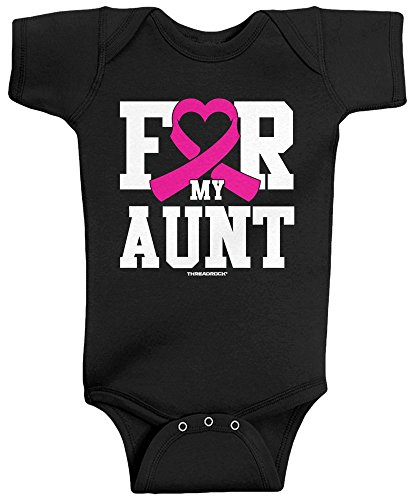 Threadrock Baby Boys' For My Aunt Breast Cancer Awareness Infant Bodysuit 6 Months ()