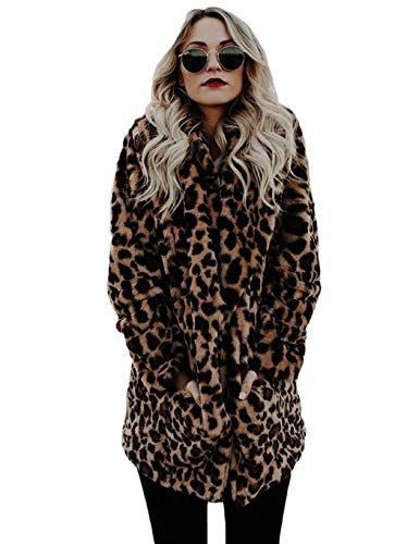 Pinsparkle Women Casual Notched Collar Leopard Print Artificial Fur Coat Outwear Faux Leather (Notched Fur Coat Collar)