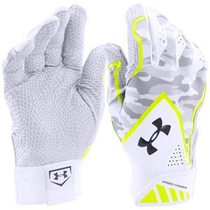 UNDER ARMOUR Yard Undeniable Baseball Batting Gloves 2016 (アンダーアーマー ヤード アンディナイアブル バッティング グローブ) (White/Grey/Yellow, M(24cm-25cm)) [並行輸入品] B01ENRK0ZU