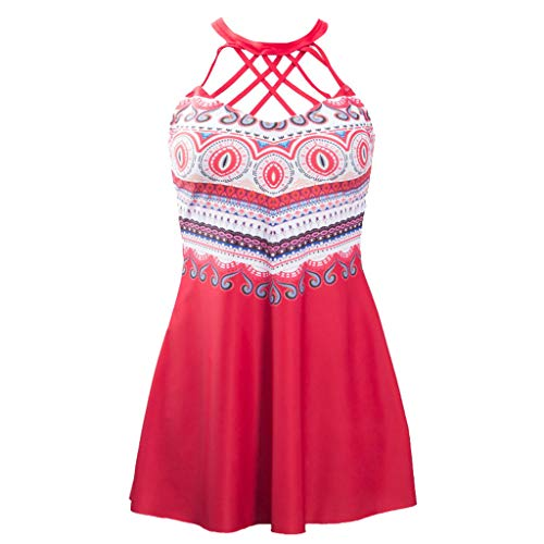 Beach Briefs Swimsuits Women 2019,YEZIJIN Women Swimwear Beachwear Printed 2 Pieces Tankini Swimsuit Bathing Suit Red ()