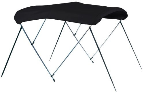 Jet Black 3 Bow Bimini Boat Top With Stainless Steel Fittings, 9.25 oz. Sunbrella Acrylic(L: 6', H: 46