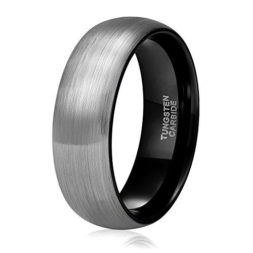 8 Mm Tungsten Ring (Shuremaster 6mm 8mm Black Grey Tungsten Carbide Rings for Men Women Brushed Dome Wedding Band Size 4-15 (tungsten 8mm, 10.5))