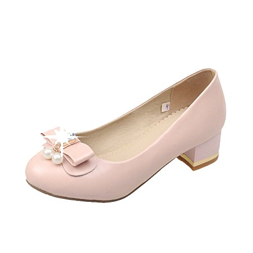 Solid Pink Low Toe Closed Pull Round WeenFashion Pu Women's Pumps On Shoes Heels 4SzZqWwa7W