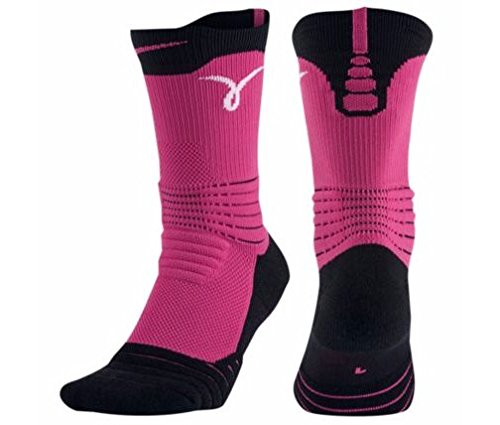Price comparison product image Nike Kay Yow Elite Versatility Crew Basketball Sock Black/Vivid Pink/White Size Large