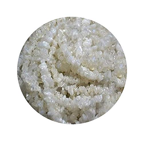 (5 Strands (34inches) of Real Natural Rainbow Moonstone Gemstone Chips Beads. White color, wholesale price. Prepared exclusively by)