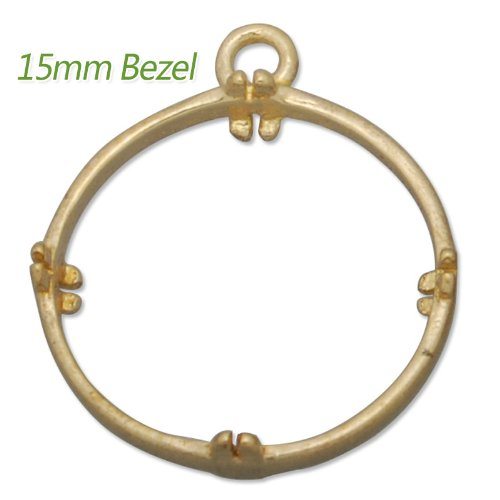 20 Pieces- 15mm Round Raw Brass Gemstone Settings for DIY Design