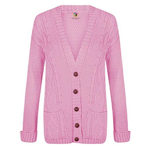 DamesPetitamiCardigansCableTricotPapiChunkySweaterJumperWomensTop Pink