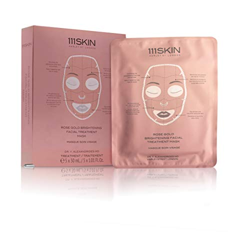 111Skin 24K Rose Gold Facial Treatment Mask - Light And Thin Tencel Material. The Essence Permeates Into Skin Easily By Soaked In Rich Serum Thin Mask Sheets - 5 Pack