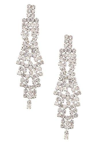 GlitZ Finery Linked Triple Layered Framed Oval Gems Necklace Set (Mint)