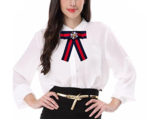 - Women Bowknot Brooches Pins Ribbon Vintage Collar Shirt Dress Jewelry Necktie