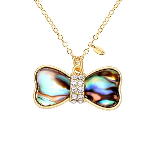 [SENFAI Dog Bone Blue Green Abalone Shell Double Peach Heart Real Gold Plated Necklace (Gold)] (Bone Shell Necklace)