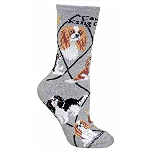 Wheel House Designs Cavalier King Charles Women's Argyle Socks (Shoe size 6-8.5) 5