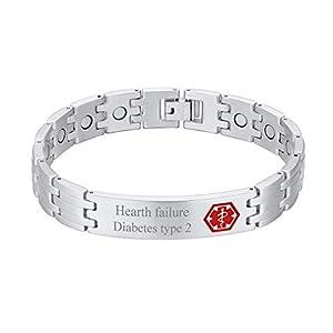 Custom4U Braccialetto di allerta medica, braccialetti Sos per uomo donna, braccialetti personalizzati per donna uomo… 14