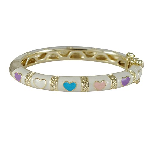 Ivy and Max Gold Finish White Enamel Multi-Color Hearts Girls Bangle Bracelet (35mm) (Gold Heart Enamel)