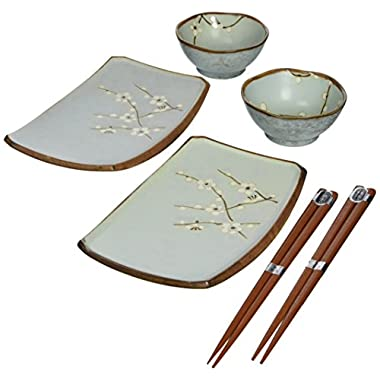 Miya Spring Blossom Japanese Sushi Plate Gift Set with 2-Pair of Chopsticks, Sushi for Two, Blue/White