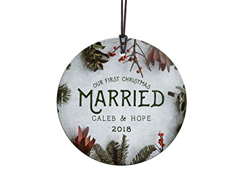 Personalized Suncatcher - Trend Setters First Christmas Married Ornament – Cranberries and Evergreen Personalized – Suncatcher Hanging Glass Collectible