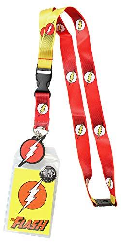 Reversible Lanyard - DC Comics The Flash 1950's Logo Reversible Breakaway Keychain Lanyard ID Holder & Charm Badge with Collectible Sticker