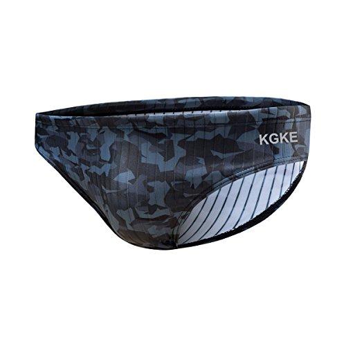 KGKE Mens Sexy Swim Briefs by Camo Pattern Bikini Swimsuit for Men (Grey Camo Strip, XXL) by KGKE