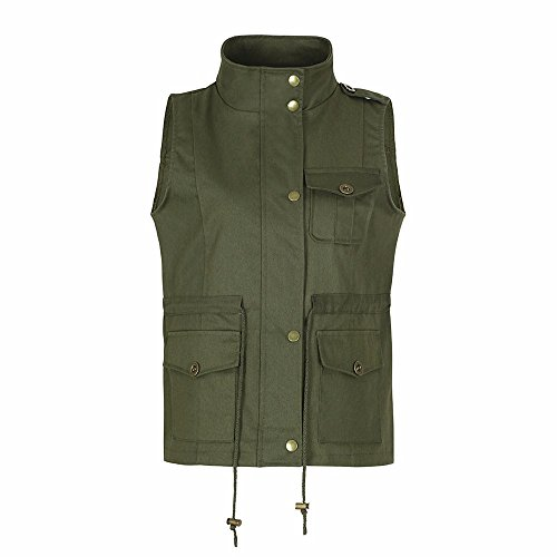 iYBUIA Women's Lightweight Sleeveless Stretchy Drawstring Jacket Vest with Zipper(Army Green,XXL) (Collegiate Striped Sweater)