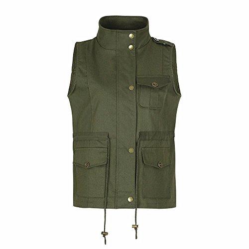 iYBUIA Women's Lightweight Sleeveless Stretchy Drawstring Jacket Vest with Zipper(Army Green,L)