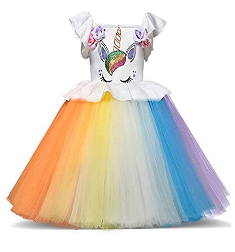 (TTYAOVO Toddler Unicorn Costume Baby Girl Princess Flower Dress Pageant Party Tutu Dresses Size 3-4 Years)