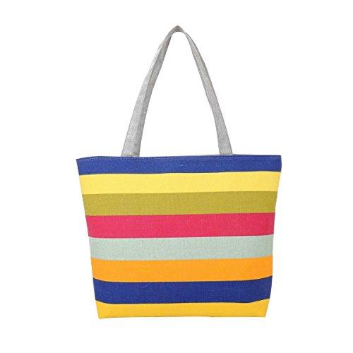 Women Casual Borse A Spalla Stripes Canvas Handbags,C-OneSize
