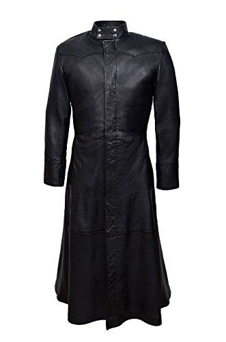 Smart Range Men's Neo Full Length Matrix Style Real Nappa Leather Jacket Coat Medium Black