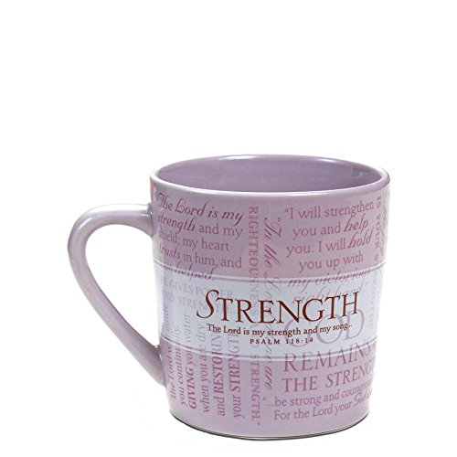 Lighthouse Christian Products Promises of Strength with 10 Scripture Cards Ceramic Mug, 14 oz