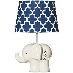 Living Textiles Elephant Lamp Base And Shade, Blue