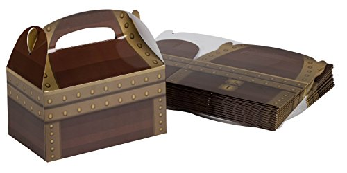 Treat Boxes - 24-Pack Paper Party Favor Boxes, Pirate Theme Treasure Chest Loot Design Goodie Boxes for Birthdays and Events, 2 Dozen Party Gable Boxes, 6 x 3.3 x 3.6 -